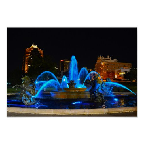 J. C. Nichols Fountain in Blue, Kansas City Poster