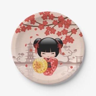 Japanese Red Sakura Kokeshi Doll 7 Inch Paper Plate