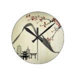 Japanese,vintage,cherry blossom,water colour,art, round clocks