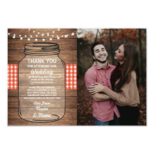 Jar Red Gingham Wedding Thank You Card Engagement