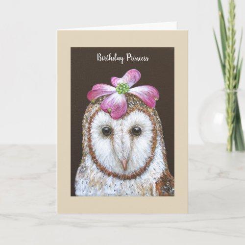 Jasmine the barn owl birthday card