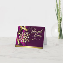 Jazzy Jeweled Snowflake Pink Thank You Card