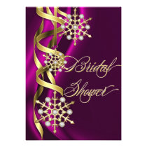 Jazzy Jeweled Snowflakes Pink & Gold Invitation