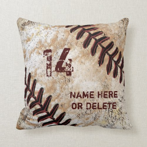 Jersey Number and Name on Vintage Baseball Pillow
