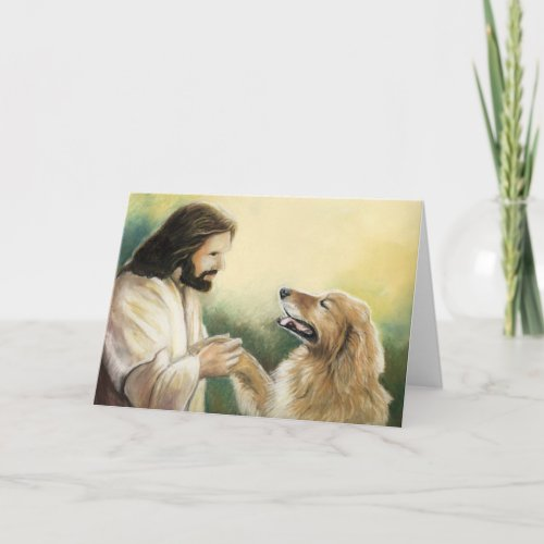 Jesus and Golden Retriever Dog Art Greeting Card