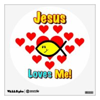 """""""Jesus Loves Me"""" Christian Fish Wall Decal   Zazzle"""