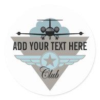 Jet Airplane Wing Club Sticker