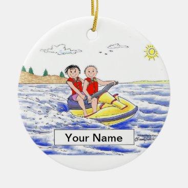 Jet Ski Riding Couple Ceramic Ornament