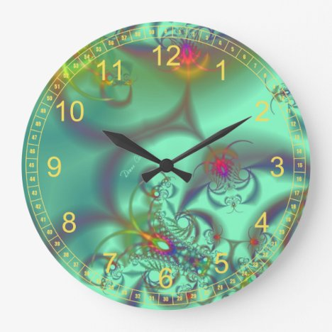 Jeweled Staircase - Abstract Emerald Kaleidoscope Large Clock