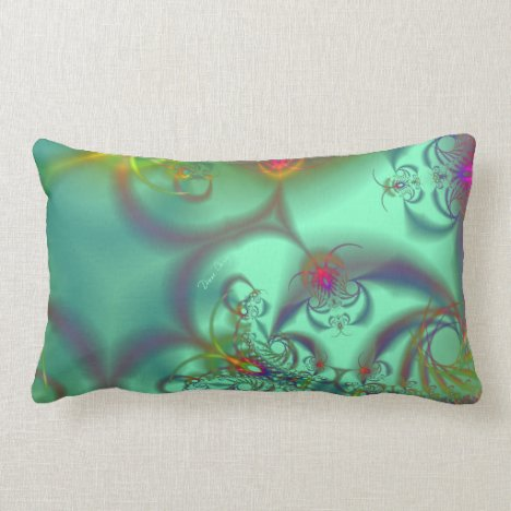 Jeweled Staircase - Abstract Emerald Kaleidoscope Lumbar Pillow