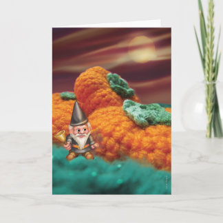Gnome in a Pumpkin Patch Greeting Card