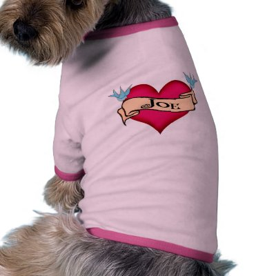 Joe - Custom Heart Tattoo t-shirts, shirts, apparel & gifts feature a vintage retro tattoo style heart with a banner and a pair of lucky bluebirds,