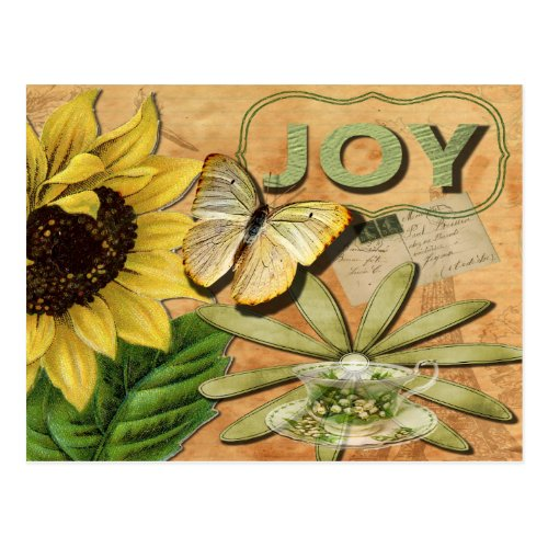 Joy Collage, Vintage Eiffel Tower and Butterfly Postcard