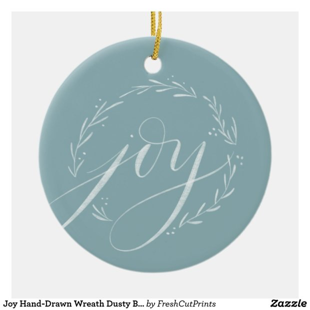 Joy Hand-Drawn Wreath Dusty Blue and White Ceramic Ornament