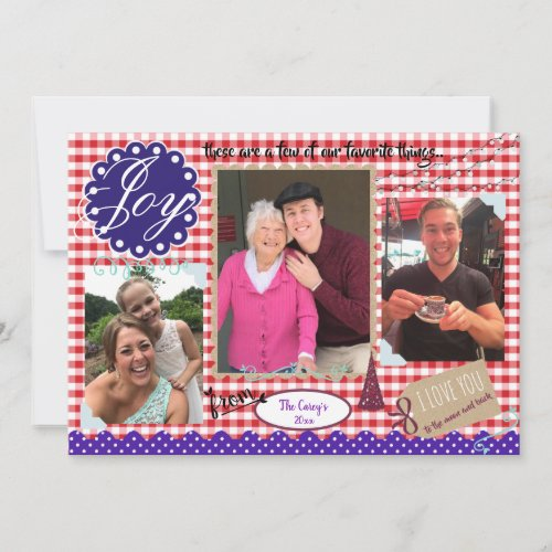 Joy Homemade Christmas Scrapbook Photo Holiday Card