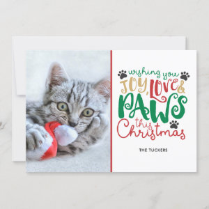 Joy Love Paws Pet Christmas Photo Holiday Card