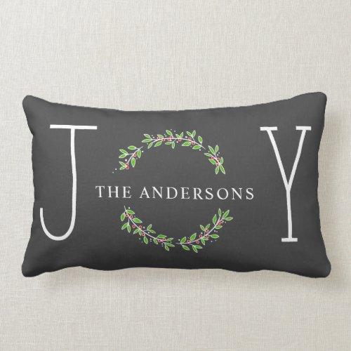 Joy Wreath Modern Monogram Christmas Holiday Lumbar Pillow