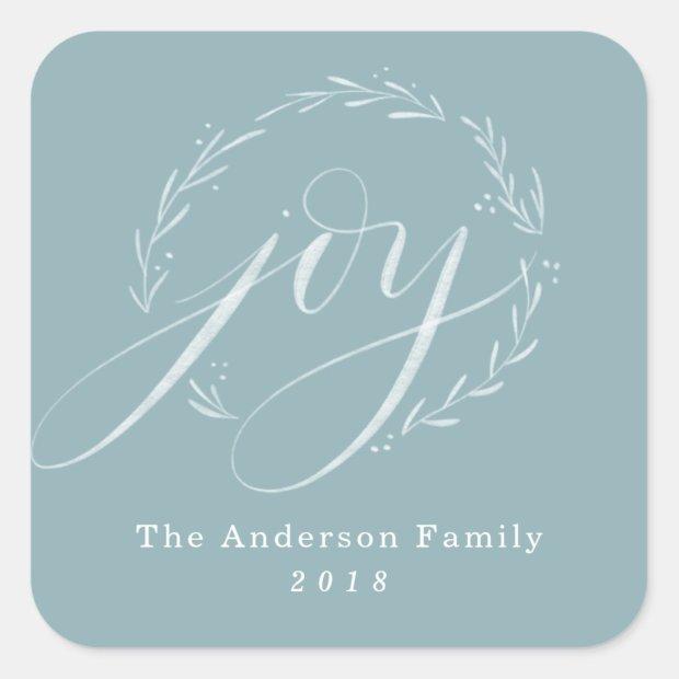 Joyful Hand-Lettered Wreath Square Sticker
