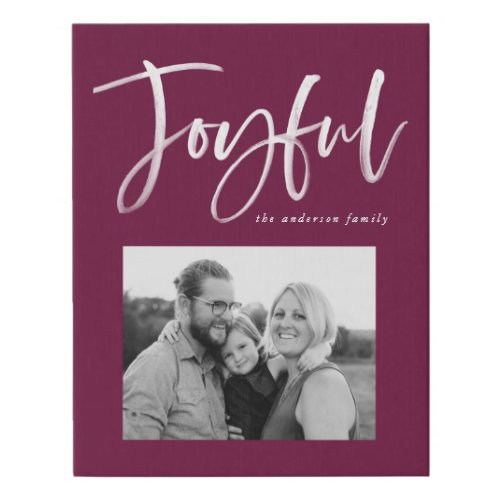 Joyful Script | Berry Purple Faux Canvas Print