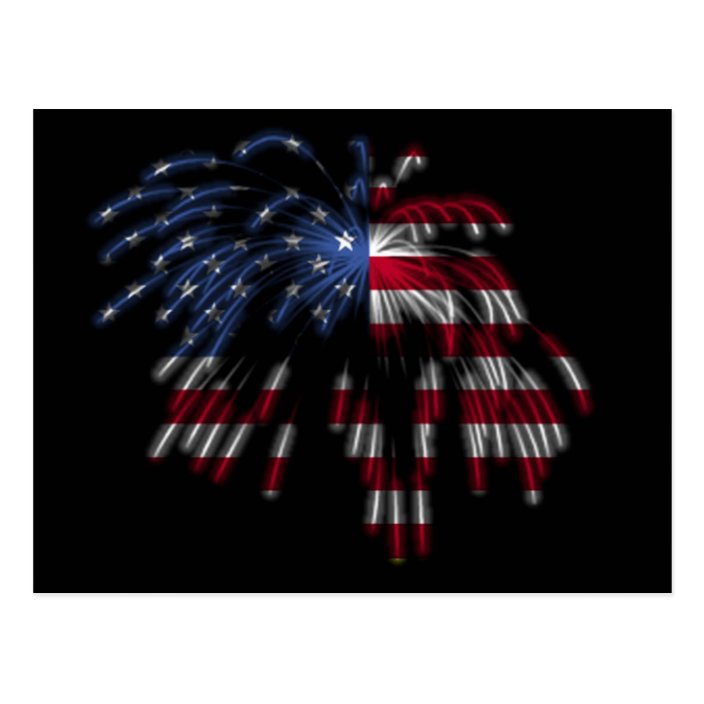 July 4th Fireworks The American Flag In Lights Postcard Zazzle Com