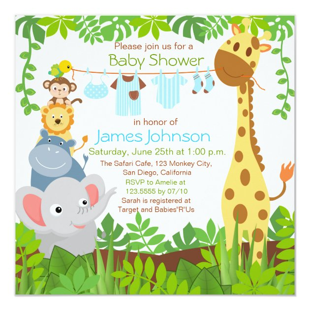 Jungle Animals Safari Boy Baby Shower Invitation