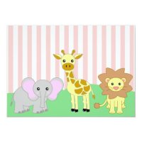 Jungle Baby Animals Pink Baby Shower Invitations