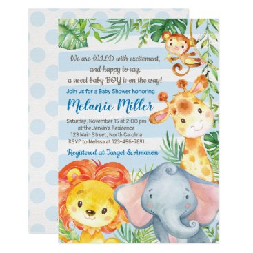 Jungle Baby Shower Invitation, Boy Elephant Baby Invitation