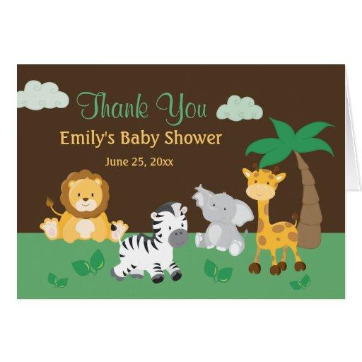 Baby Thank Cards Shower You Safari