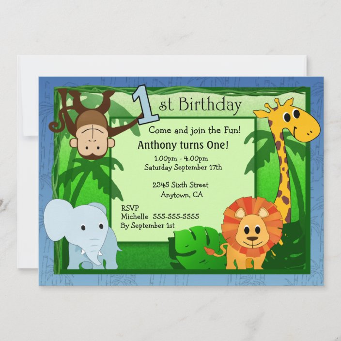 jungle theme 1st birthday invitation zazzle com