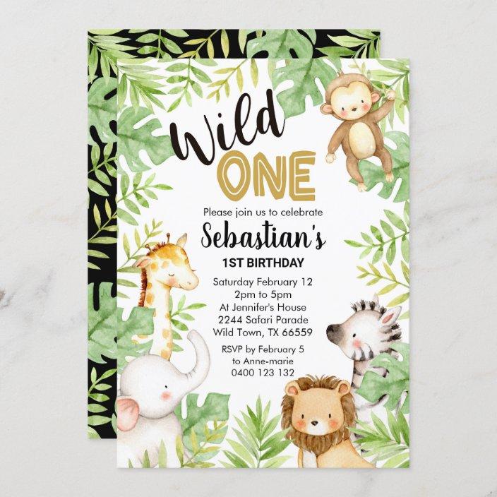 jungle wild one 1st birthday invitation safari zazzle com