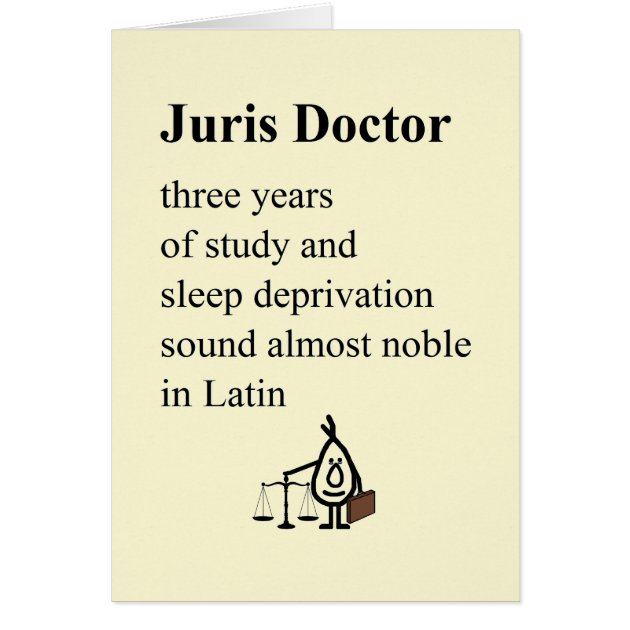 Juris Doctor A Funny Law School Graduation Poem Card