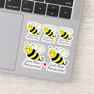 Just Be Awesome Cute BumbleBees Contour Cut Sticker