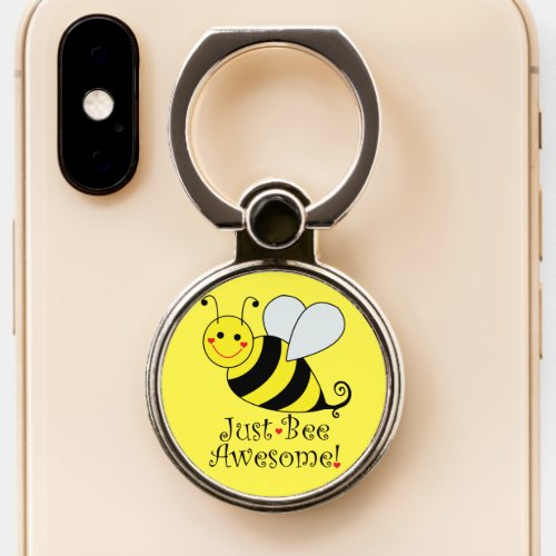 Just Bee Awesome Cute Yellow Bumble Bee Phone Ring Stand