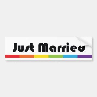 Just Married LGBT Pride Rainbow Car Bumper Sticker
