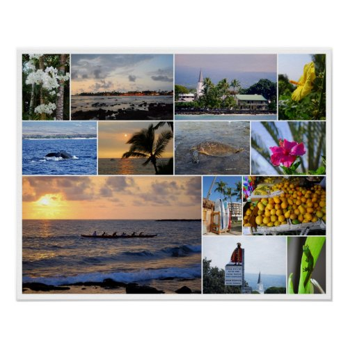 Kailua-Kona Hawaii Collage 20 x 16 Poster print