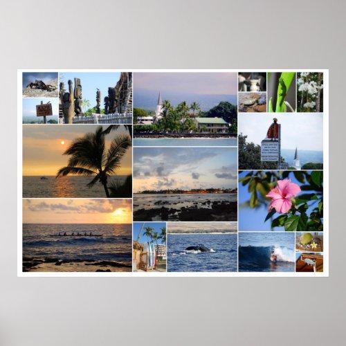 Kailua-Kona Hawaii Collage Poster print