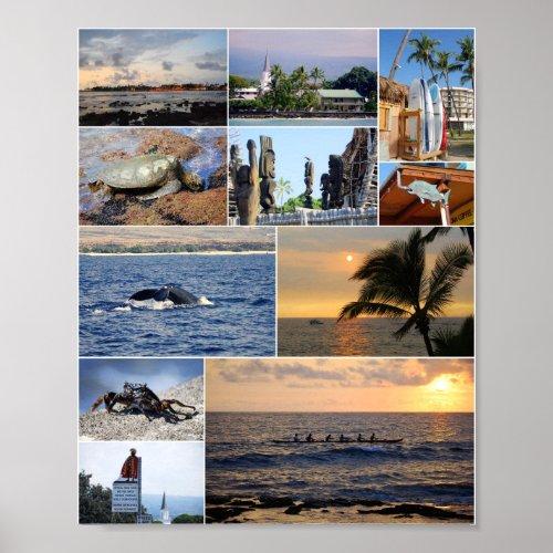 Kailua Kona Hawaii collage Poster print