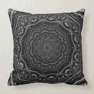 Kaleidoscope 5 (black & white) Pillows mojo_throwpillow