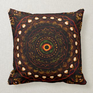 Kaleidoscope eye 4 abstract (brown) Pillow mojo_throwpillow