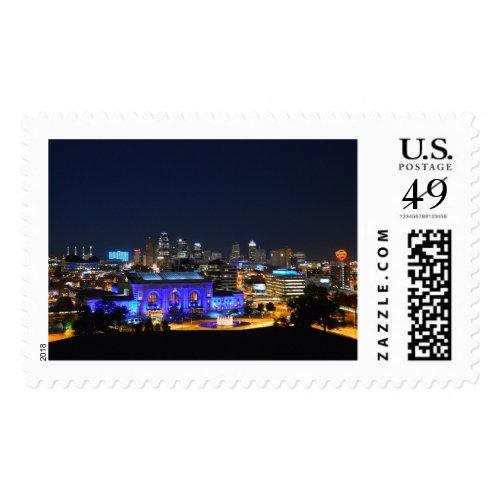 Kansas City Union Station in Blue Postage Stamp