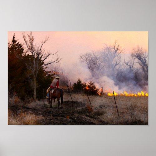 Kansas Rancher Watching a Controlled Prairie Burn Poster