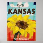 Kansas Vintage Sunflower Travel Poster