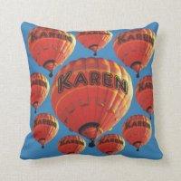 Karen Hot Air Balloons Throw Pillow | Zazzle