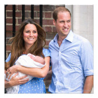 Kate & William with Newborn Son Custom Invites