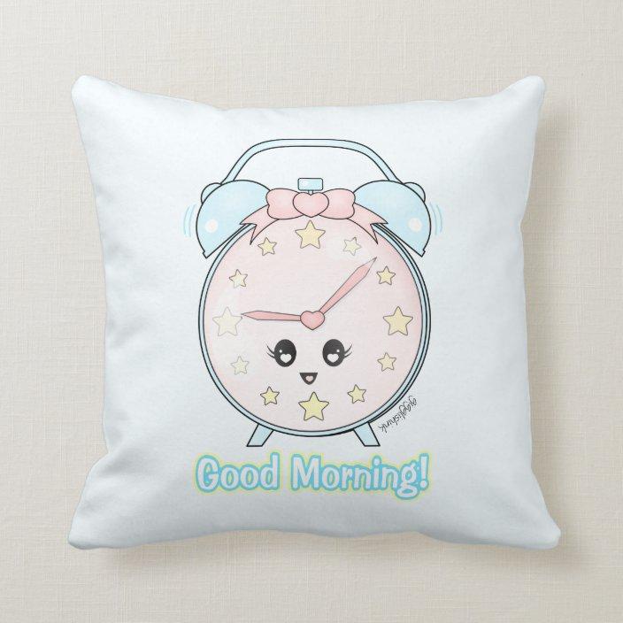 kawaii alarm clock throw pillow zazzle com