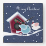 kawaii cartoon birds snow primitive christmas square wallclocks