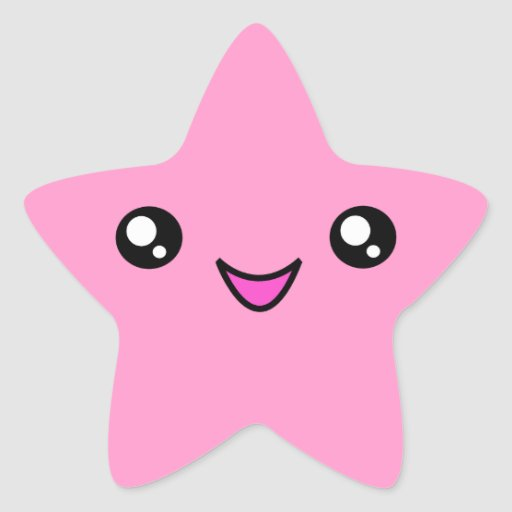 Cute Wallpapers With 0424 On It Kawaii Face Pink Star Sticker Zazzle