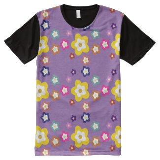 Kawaii Guy Flower Power Tshirt purple All-Over Print T-shirt