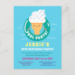 ❤️ Kawaii Ice Cream Pool Party Kids Summer birthday Invitation Postcard