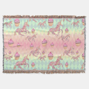 Kawaii Pastel Rainbow Unicorns and Cupcakes Decor Throw